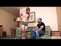 Young Twink Schoolboy Stepson And His Bear Stepdad Fuck During School Clothes Try On