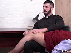 Bearded priest taunts young catholic and fucks his bootie wet