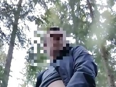 Young boy public wank in the woods by the road huge cumshot