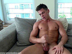 Muscle hairy man Lorenzo Gray jacking off ginormous load 2