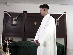 Twink fills his mouth with old priests cock and fucked