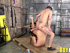infatuating twink corded to a tabouret and fucked vigorously