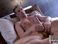 father with big trouser snake and balls jerks solo