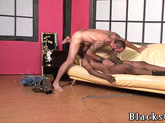 Bearded stud does bareback bi-racial gay porn