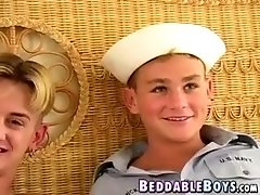 Cute navy twink pounding a young blond dick sucker