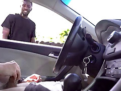 ebony fellow gets caught eyeing white guy jerk off in his car