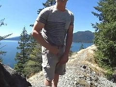 Show horny man on a mountain